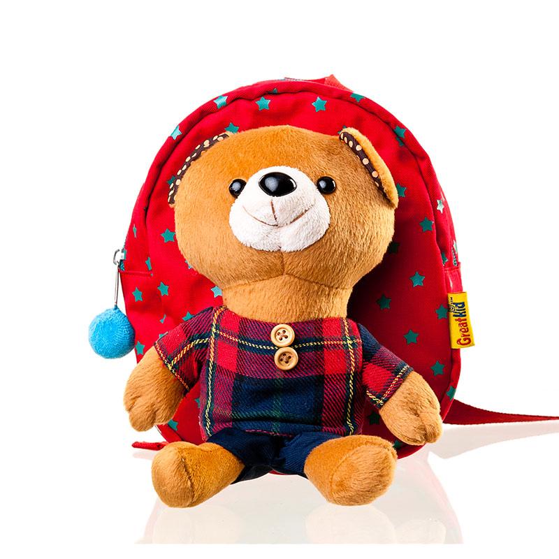 歌瑞凯儿 毛绒小熊可爱儿童双肩书包红混码 乐友网上